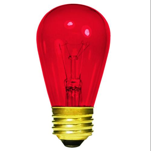 Pack of 20 Transparent Red E26 Base Replacement S14 Light Bulbs - 11 Watts