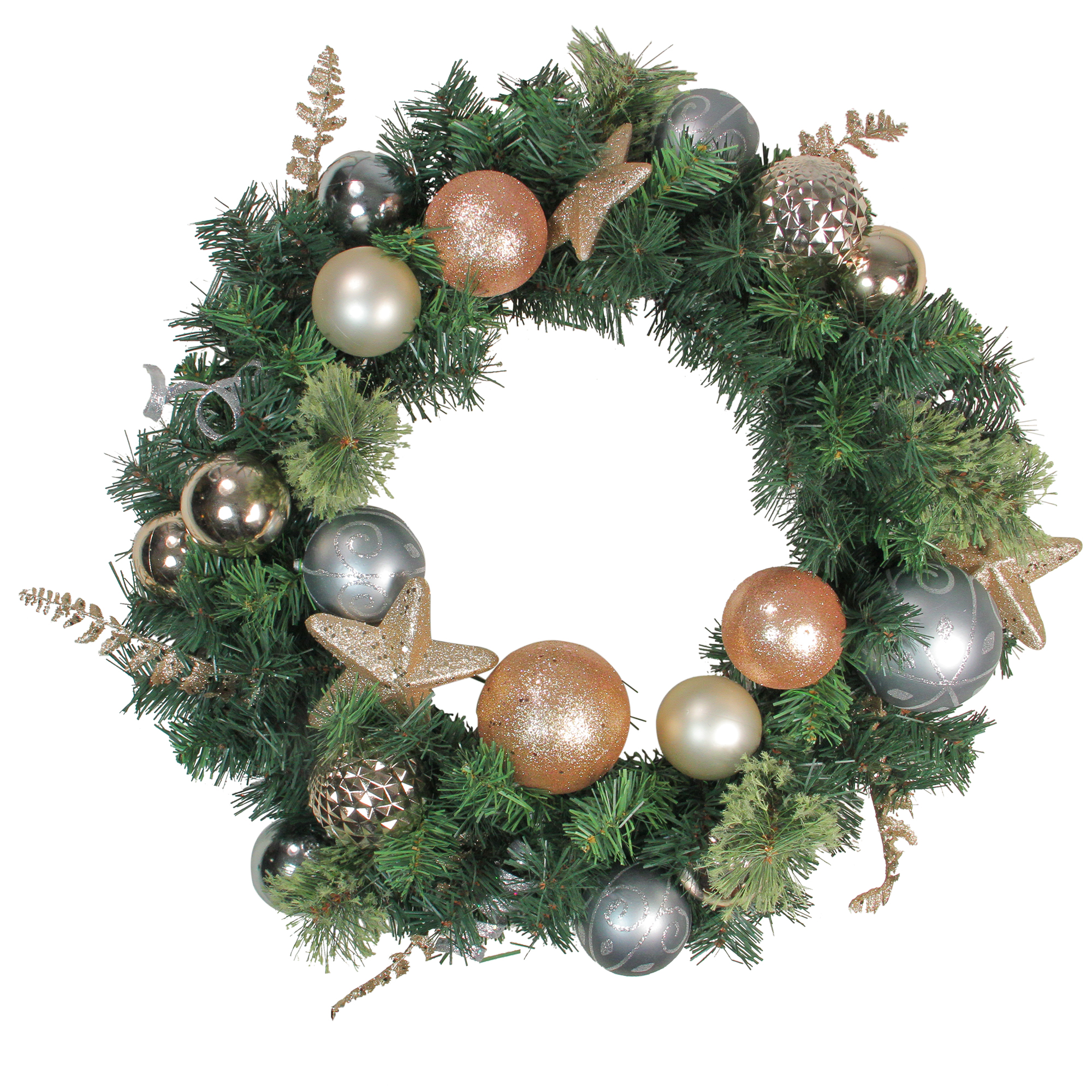 """Northlight 24"""" Unlit Rose Gold/Silver Ball Ornaments Pine Artificial Christmas Wreath"""