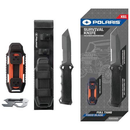 "Polaris 10"" Hunting and Survival Tanto Blade Knife With Twice Injected Glass-Filled Nylon Handle with Integrated Knife Sharpener, and Multi-Tool Included."