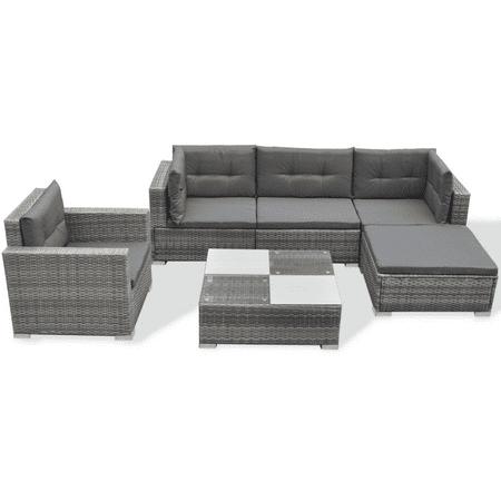 Vidaxl 17 Piece Garden Sofa Set Gray Poly Rattan