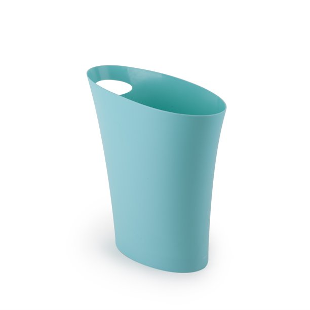 Umbra Skinny Trash Can – Sleek & Stylish Small Garbage Can / Waste Basket With 2 Gallon Capacity, Surf Blue