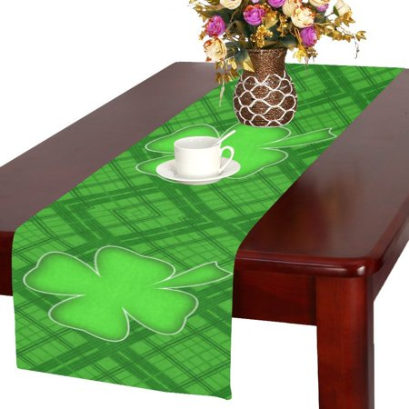 MYPOP Spring Lucky Shamrock Clover Long Table Runner 16x72 incheses, St. Patrick's Day Rectangle Table Runner Polyester Fabric Cloth Placemat for Office Kitchen Dining Wedding Party Home Decor](Spring Table Runners)