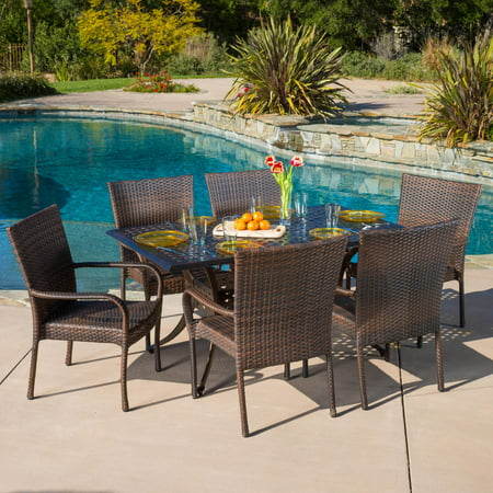 Alice Wicker 7 Piece Rectangular Patio Dining Set -  Best Selling Home, 294938