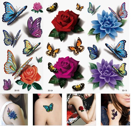 3 Feuille étanche tatouages temporaires 3D Papillon Fleur Faux tatouages autocollants