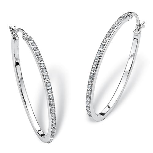 PalmBeach Diamond Accent Platinum over Sterling Silver Oval-Shaped Diamond Fascination Hoop Earrings