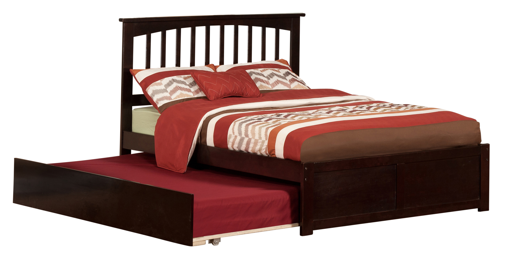 Mission Full Platform Bed with Flat Panel Foot Board and Twin Size Urban Trundle Bed in Espresso by Atlantic Furniture