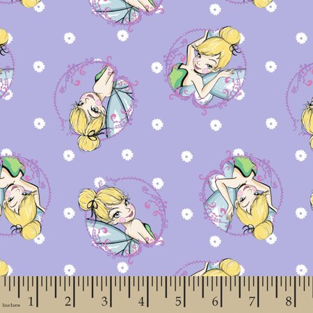 Disney Tink Fashion Tinkerbell Toss Cotton Fabric By The Yard (Tinkerbell Fabric)