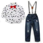 Anmino Toddler Boys Gentleman Outfit Suit Bowtie Shirt Suspender Bid Pants Overalls Sets