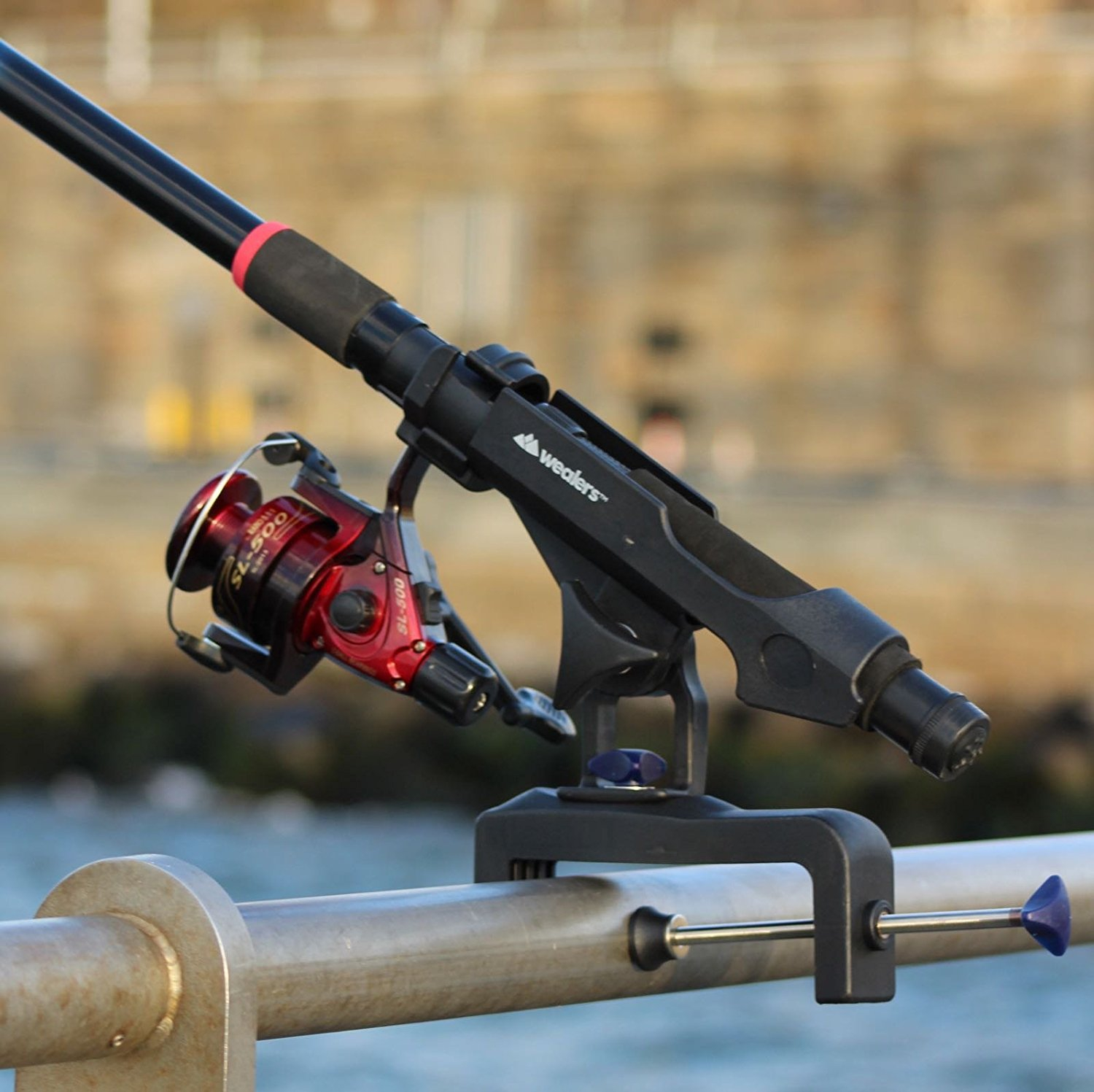 Wealers Fishing Boat Casting Rods Holder with Large Clamp Opening Adjustable 360 Degree Fishing Rod Racks Holder by