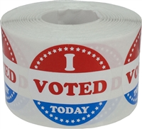 I Voted Today with Red, White, and Blue Circle Stickers, 1 1/2 Inches Round, 500 Labels on a Roll