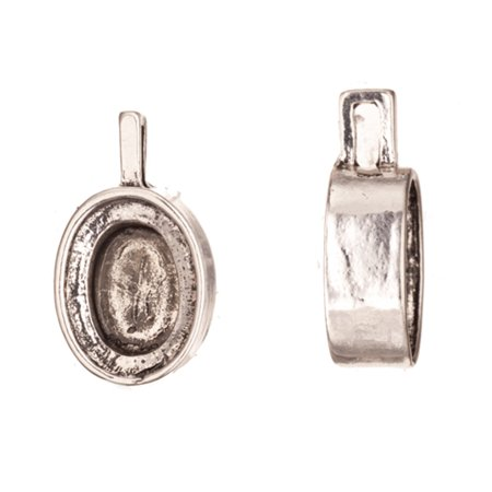 Pendant, Antique-Silver Plated Adjustable Oval Cabochon/Inclay/Crystal Cup Settings 29x16mm With 18x14mm Mount