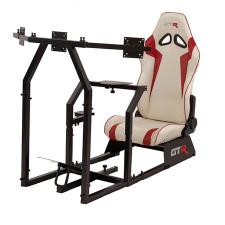 GTR Racing Simulator GTAF-BLK-S105LWHTRD - GTA-F Model (Black) Triple or Single Monitor Stand with White/Red Adjustable Leatherette Seat, Racing Simulator Cockpit gaming chair Single Monitor
