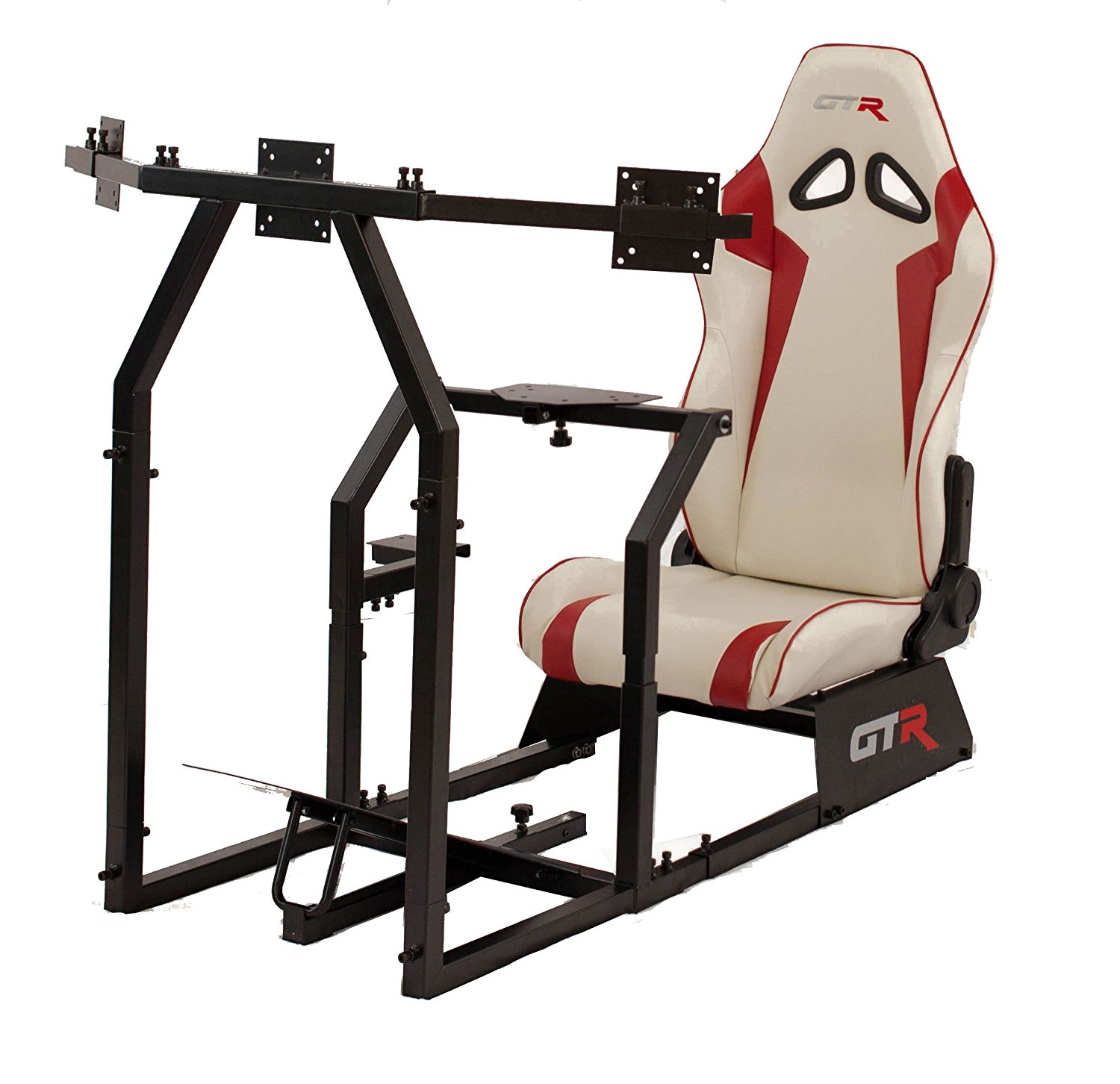 GTR Racing Simulator GTAF-BLK-S105LWHTRD - GTA-F Model (Black) Triple or Single Monitor Stand with White/Red Adjustable Leatherette Seat, Racing Simulator Cockpit gaming chair Single Monitor Stand