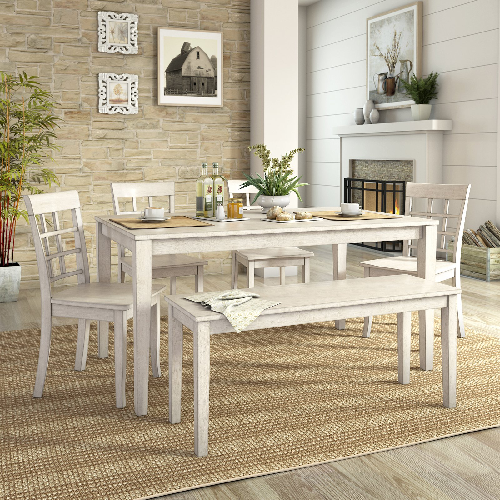 Lexington Large Dining Set with Bench and 4 Window Back Chairs