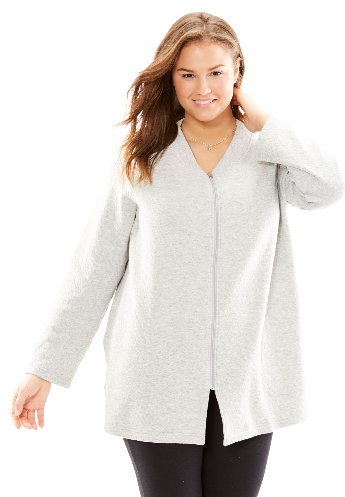 Plus Size Quilted Fleece Short Bed Jacket By Only Necessities