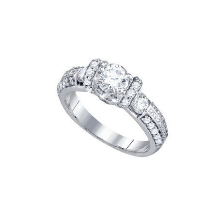 14Kt White Gold Womens Round Diamond Solitaire Bridal Wedding Engagement Ring 1 1 2 Cttw
