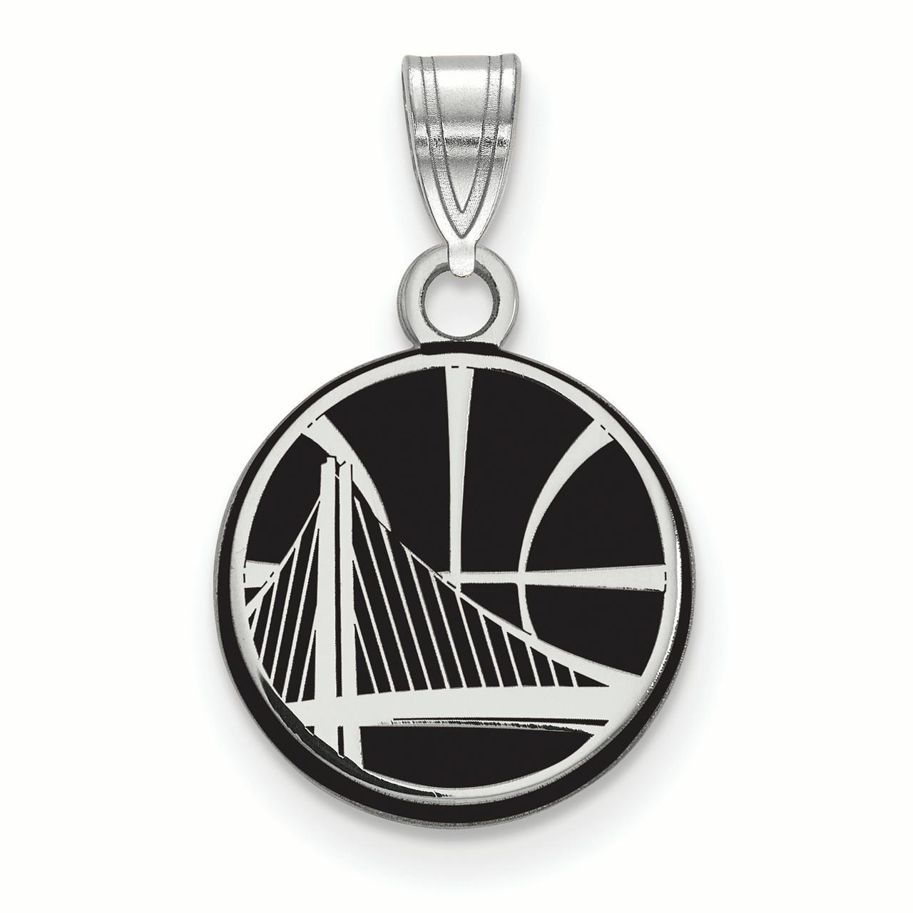 NBA Golden State Warriors Sterling Silver Small Enamel Pendant