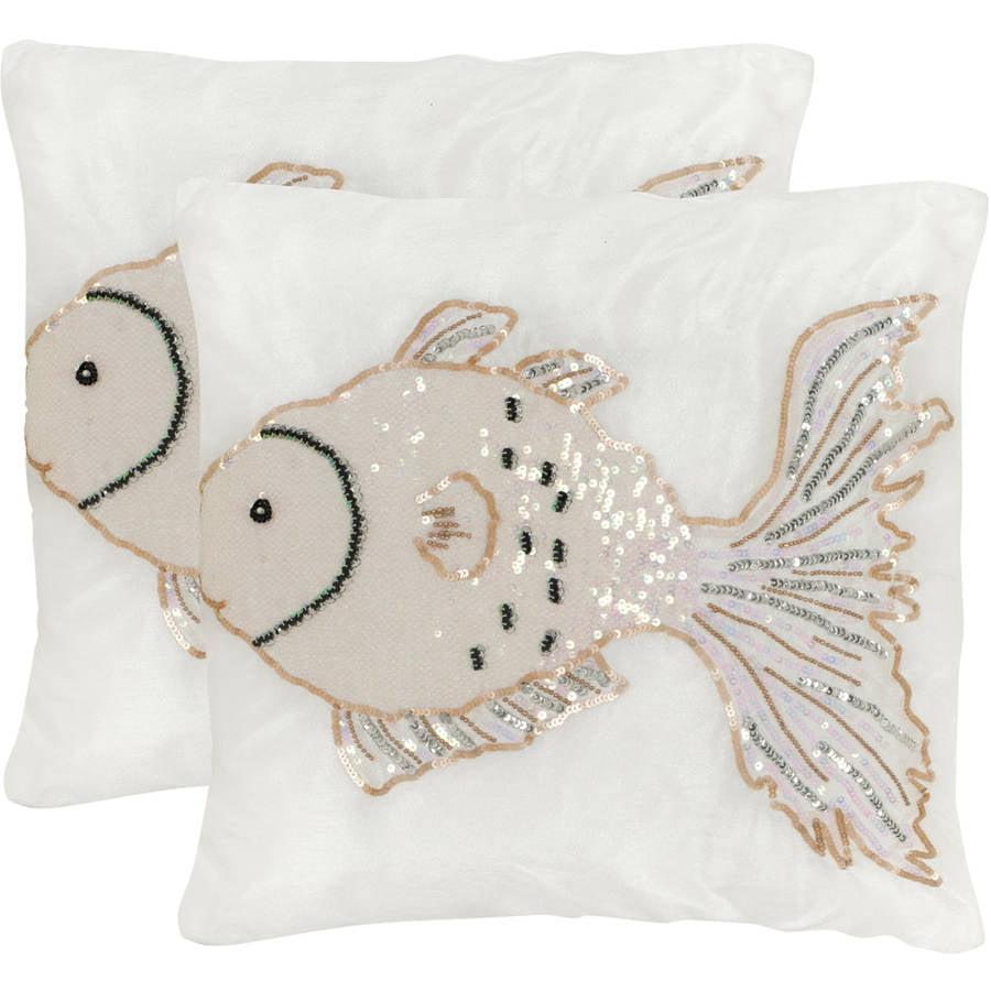 """Safavieh Kissy Fish 18"""" x 18"""" Pearlscent Pillow, Set of 2"""