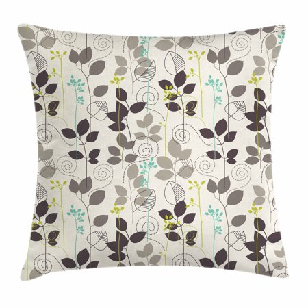 - Floral Throw Pillow Cushion Cover, Doodle Leaves Earthen Toned Leaf Branches Autumn Beauty Season Theme, Decorative Square Accent Pillow Case, 16 X 16 Inches, Coconut Dark Taupe Seafoam, by Ambesonne