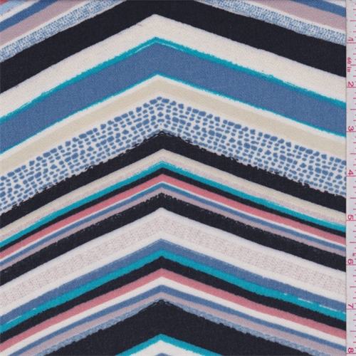 Turquoise Multi Chevron Rayon Crepe, Fabric By the Yard