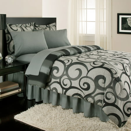 Sloane Street Alessandro Scroll, Reversible, Complete Set With Bonus Bed Skirt By Royale Linens
