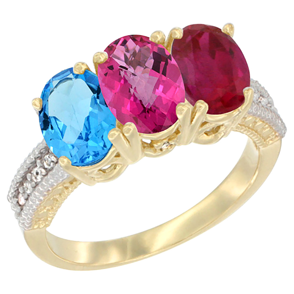 10K Yellow Gold Diamond Natural Swiss Blue Topaz, Pink Topaz & Enhanced Ruby Ring 3-Stone Oval 7x5 mm, sizes 5 10 by WorldJewels