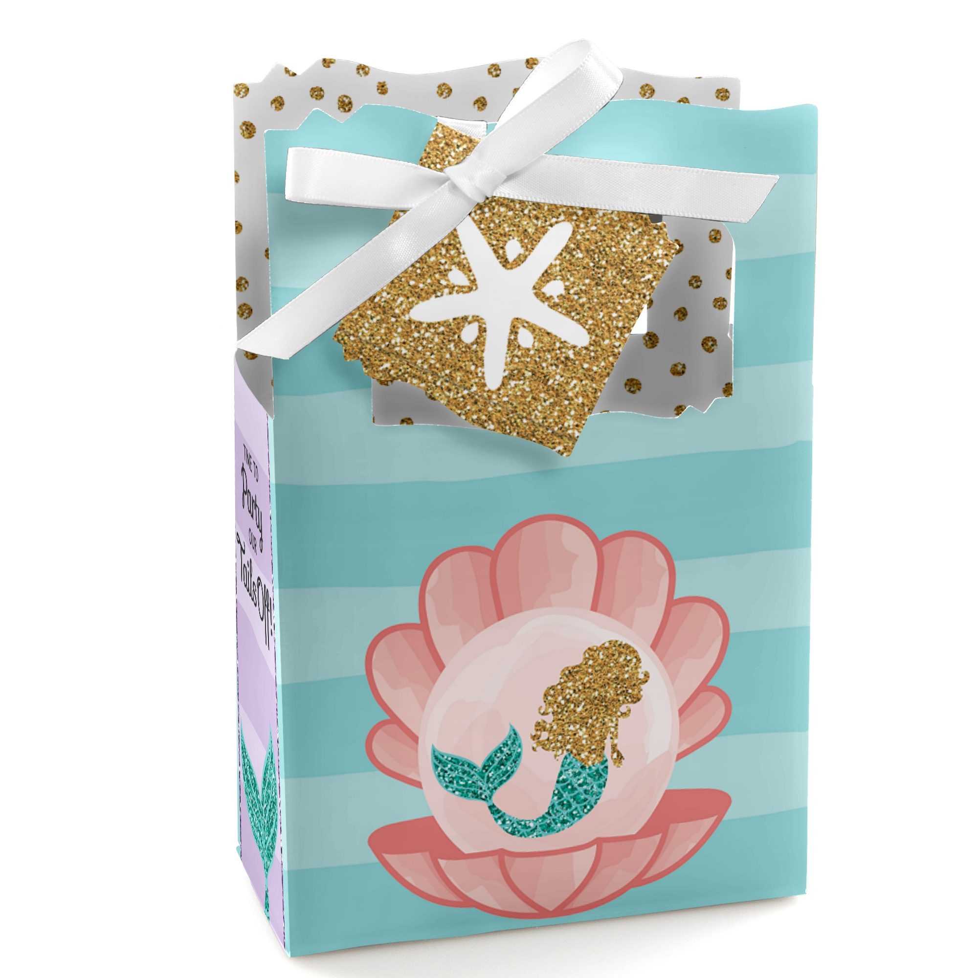 Let's Be Mermaids - Baby Shower or Birthday Party Favor Boxes - Set of 12