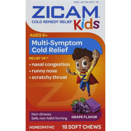 Zicam Cold Remedy Kids Soft Chews, Grape Flavor, 18