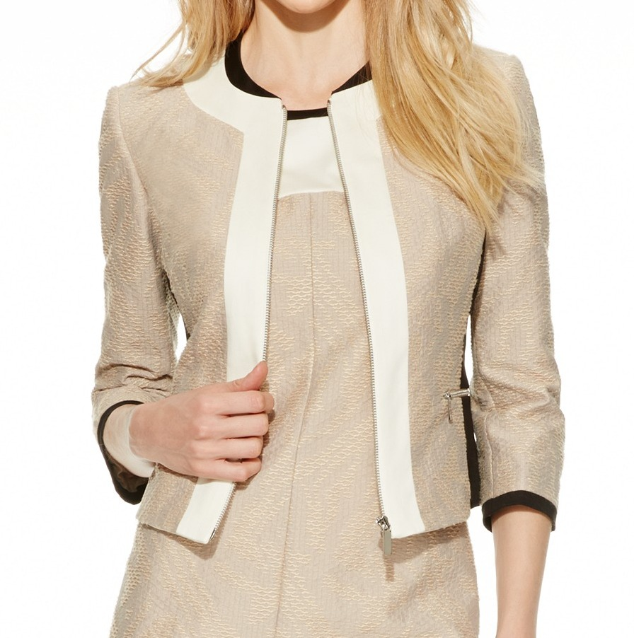 Tahari NEW Beige Jacquard Women's Size 16 Full Zip Colorblock Jacket $139