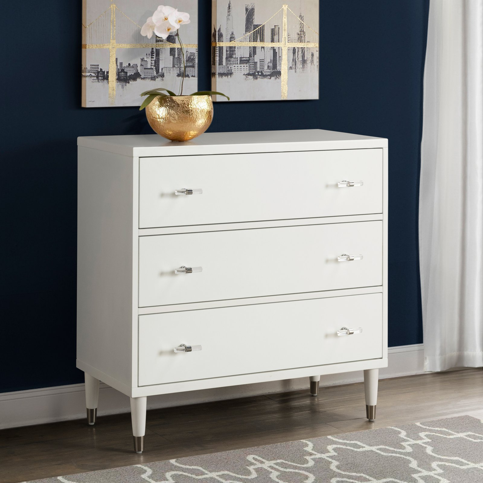 Modern White Three Drawer Chest