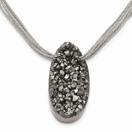 Druzy Agate Pendant - Mia Diamonds Stainless Steel Druzy Agate Polyester Cord Necklace Chain