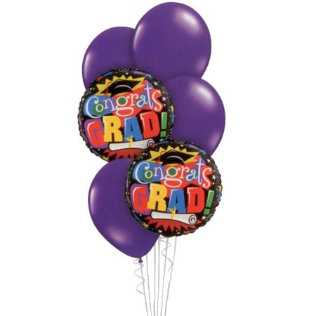 Graduation Balloon Bouquet - Purple Congratulations Grad Bouquet - 6 Balloons (Congratulations Balloons)