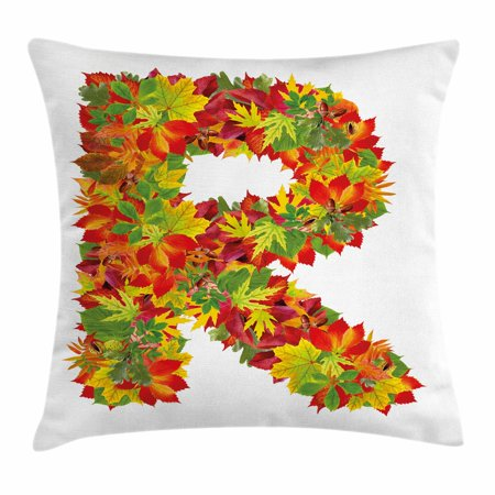 Inspiration Bouquet - Letter R Throw Pillow Cushion Cover, Floral R Made with Maple Leaves Bouquet Essence Autumn Inspirations Initials Theme, Decorative Square Accent Pillow Case, 18 X 18 Inches, Multicolor, by Ambesonne