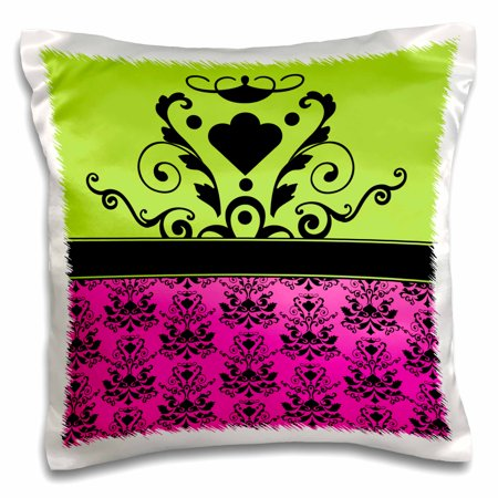 3dRose Hot Pink and Apple Green Print with Single Damask Medallion - Pillow Case, 16 by - Medallion Cases