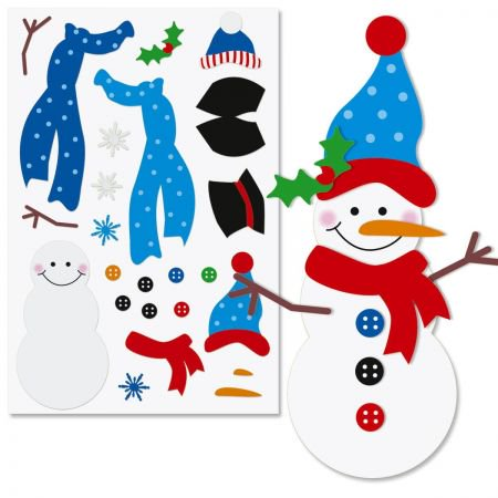 Decorate-Your-Own Snowman Sticker Sheets - Set of 12