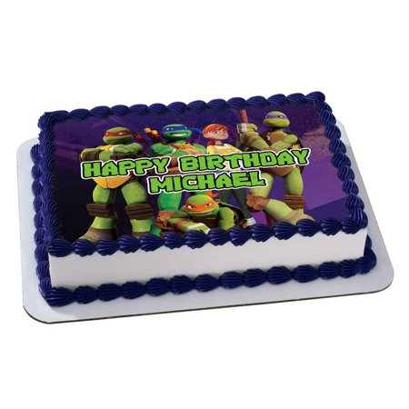 Ninja Turtles Quarter Sheet Edible Photo Birthday Cake Topper. ~ Personalized! 1/4 Sheet  (Ninja Turtle Cake Kit)