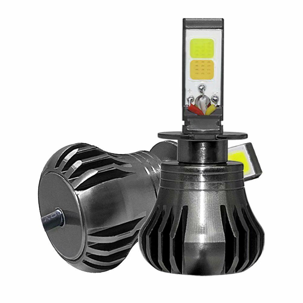 2Pcs H3 LED Lamp Headlight Driving Fog Light Bulb for Car, White + Yellow