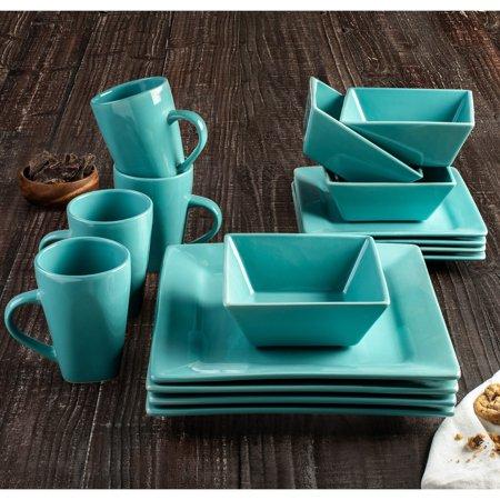 American Atelier  Nova Turquoise Square Stoneware 16-Piece Dinnerware Set