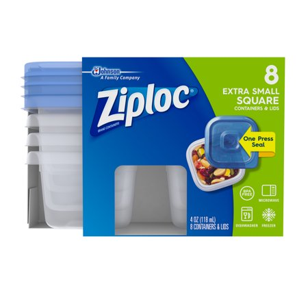 (2 Pack) Ziploc Container with One Press Seal, Extra Small Square, 8 count