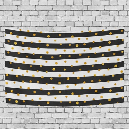 MYPOP Gold Dots White And Black Stripes Tapestry Wall Hanging Decoration Home Decor Living Room Dorm 80x60 inches ()