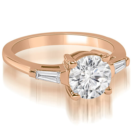 0.50 CT.TW Round Baguette Three Stone Diamond Engagement Ring in 14K White, Yellow Or Rose Gold