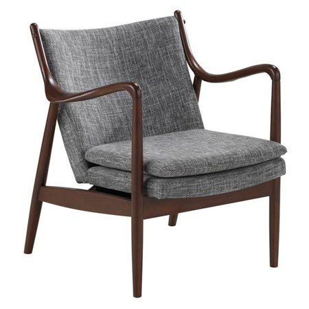 Incredible Baxton Studio Shakespeare Mid Century Modern Retro Gray Fabric Upholstered Leisure Accent Chair In Walnut Wood Frame Squirreltailoven Fun Painted Chair Ideas Images Squirreltailovenorg