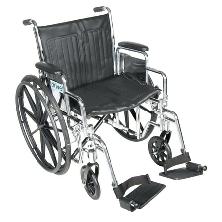 """Drive Medical Chrome Sport Wheelchair, Detachable Desk Arms, Swing away Footrests, 20"""" Seat"""