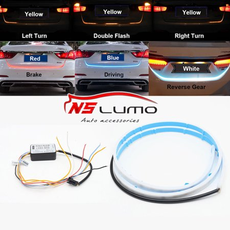 48'' 5IN1 LED Car Strip Tail Tailgate Light Bar 5 Modes Truck Running Brake Reverse Turn Signal Lamp Flow Warning Light White Led Tailgate