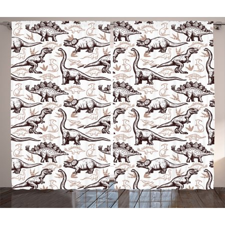 Dinosaur Curtains 2 Panels Set Magnificent Reptiles With Footprints Doodle Style Art Ancient Animals Abstract