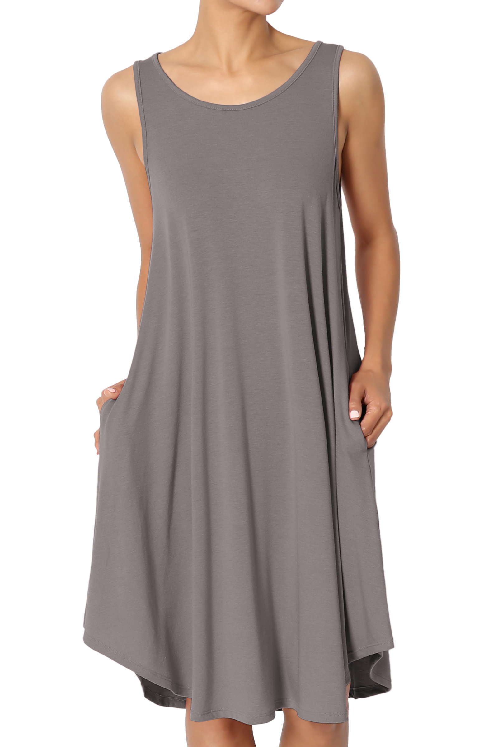 TheMogan Women's PLUS Sleeveless Trapeze Jersey Knit Pocket T-Shirt Tank Dress
