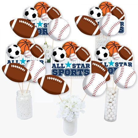 Go, Fight, Win - Sports - Baby Shower or Birthday Party Centerpiece Sticks - Table Toppers - Set of 15 - Halloween Baby Shower Centerpieces