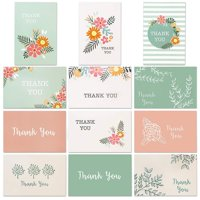 96-Count Thank You Cards with Envelopes, Bulk Box Set Blank Thank You Greeting Notes for Baby and Bridal Shower Graduation Birthday Wedding Party, 12 All Occasion Assorted Floral Designs, 4 x 6 Inches
