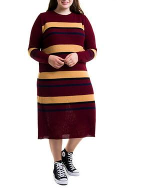 Heartbreak Juniors' Plus Size Striped Sweater Dress