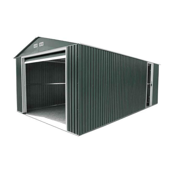 Duramax 55251 Metal Garage 12'x32' Metal Storage Shed Dark Gray with White Trim